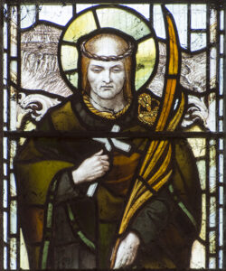 stained glass window of St Cynog
