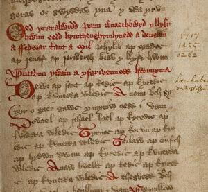 The opening of Bonedd y Saint